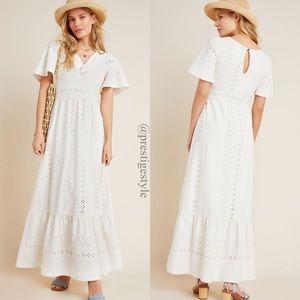 ANTHROPOLOGIE Maeve Rochelle Eyelet Maxi Dress